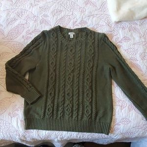 LL Bean Green Cable Knit Sweater L Petite